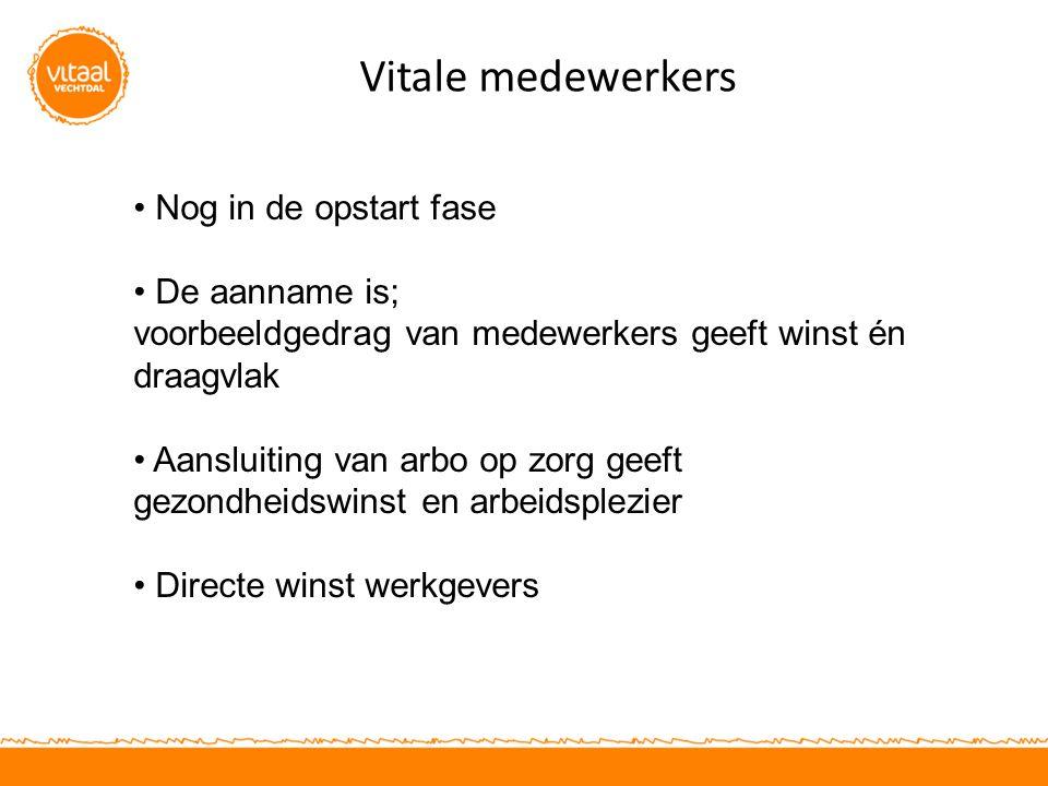Vitale medewerkers Nog in de opstart fase De aanname is;