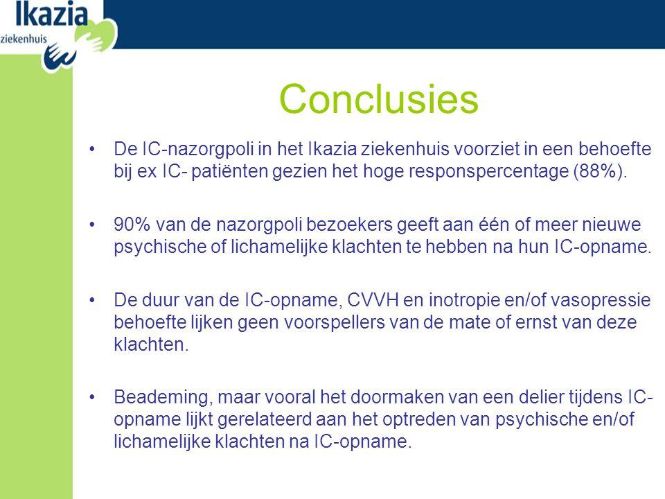 Conclusies De IC-nazorgpoli in het Ikazia ziekenhuis voorziet in een behoefte bij ex IC- patiënten gezien het hoge responspercentage (88%).