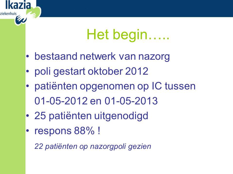 Het begin….. bestaand netwerk van nazorg poli gestart oktober 2012