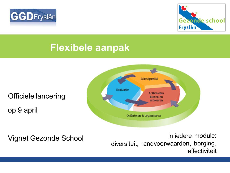 Flexibele aanpak Officiele lancering op 9 april Vignet Gezonde School