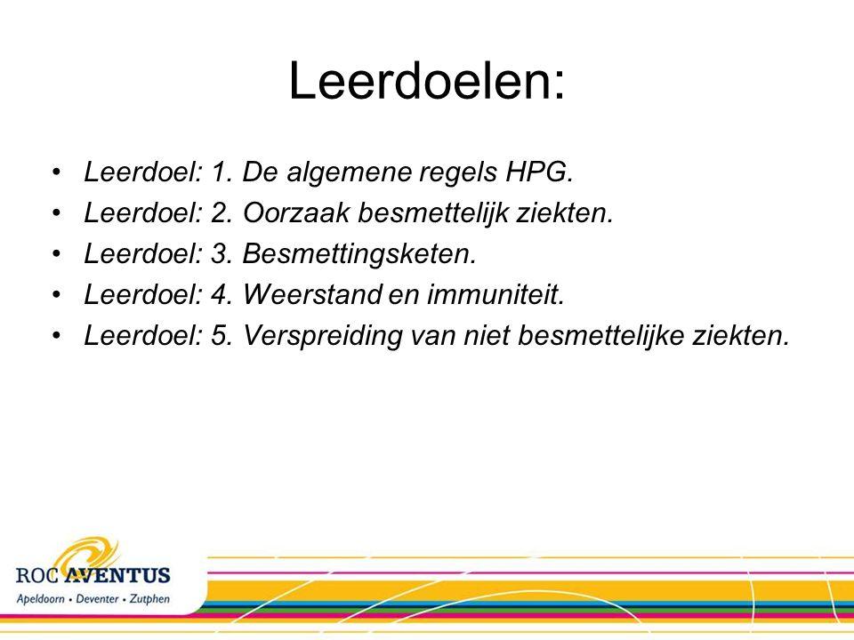 Leerdoelen: Leerdoel: 1. De algemene regels HPG.