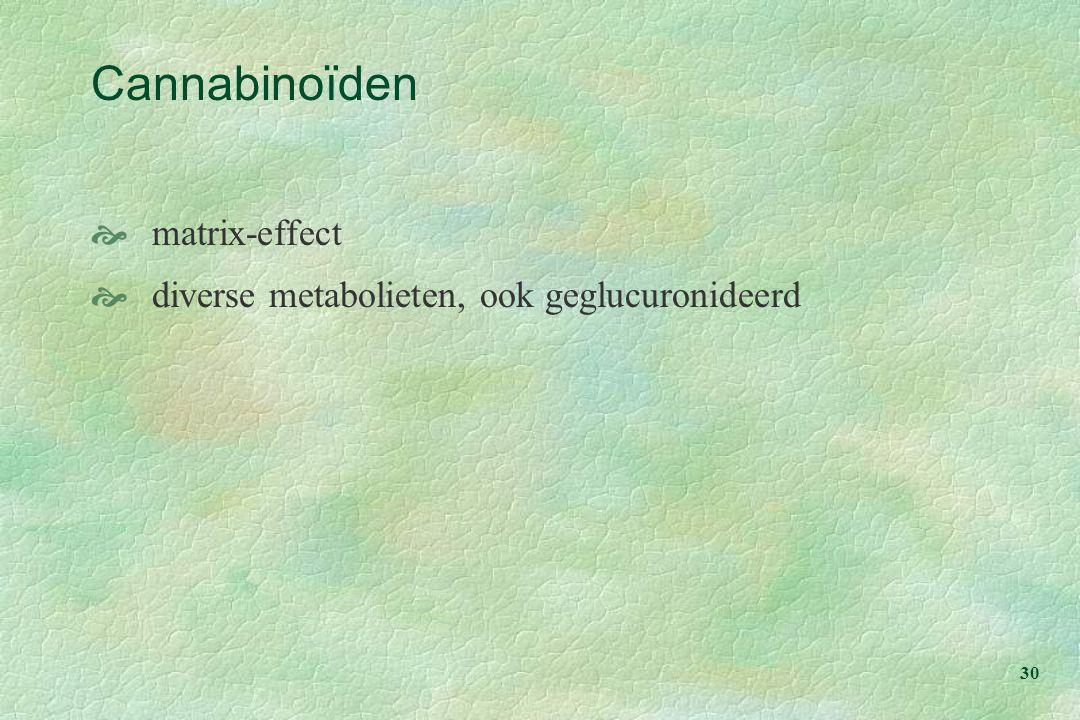 Cannabinoïden matrix-effect diverse metabolieten, ook geglucuronideerd