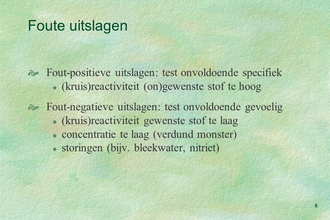 Foute uitslagen Fout-positieve uitslagen: test onvoldoende specifiek