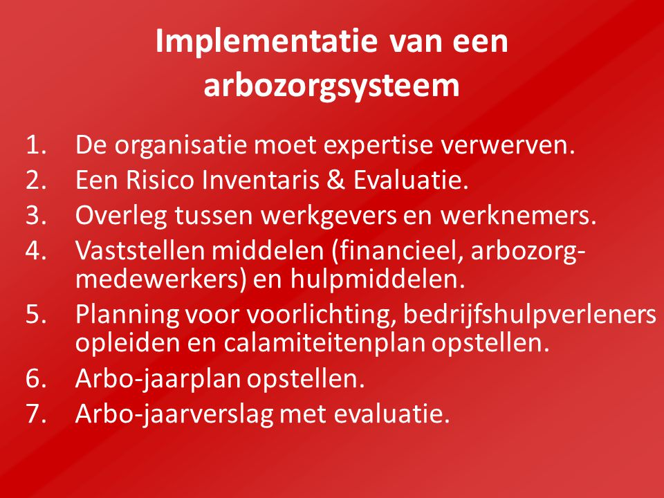 Implementatie van een arbozorgsysteem