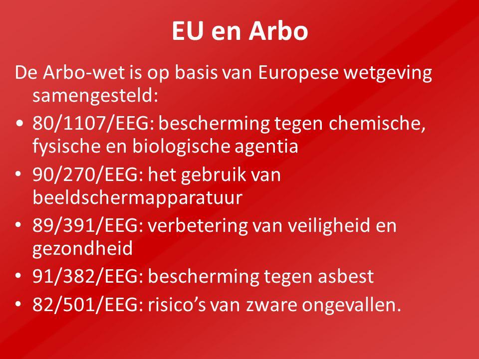 EU en Arbo De Arbo-wet is op basis van Europese wetgeving samengesteld: 80/1107/EEG: bescherming tegen chemische, fysische en biologische agentia.