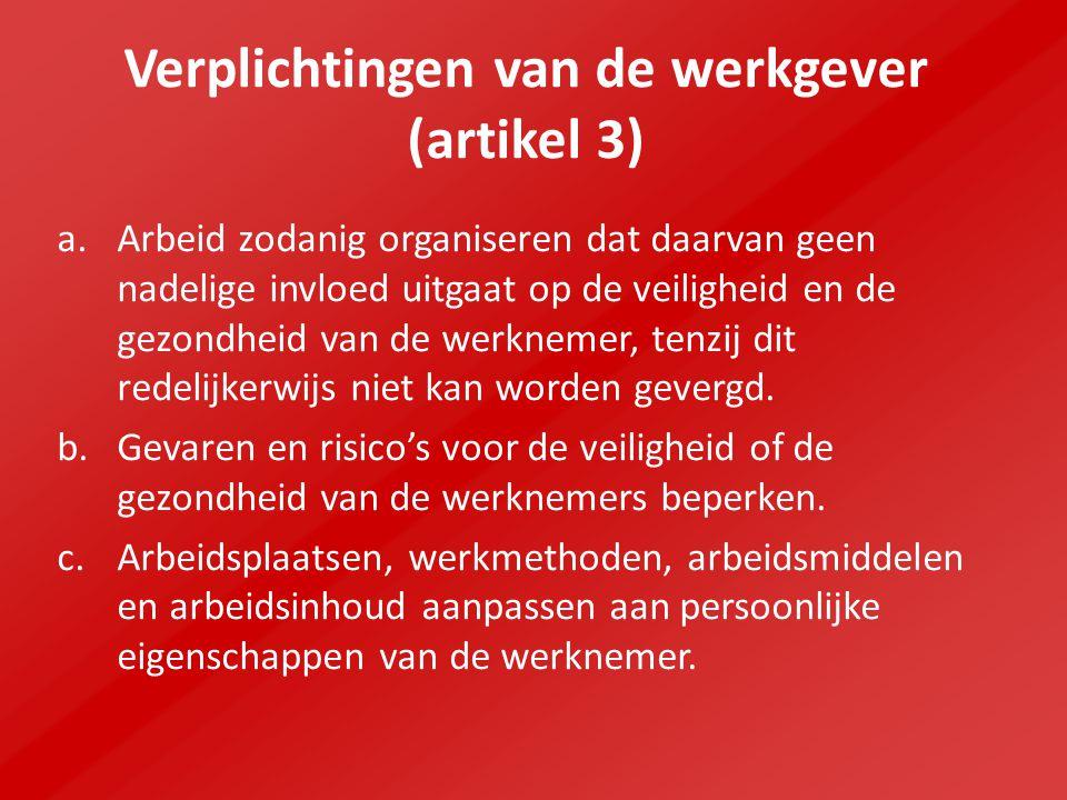 Verplichtingen van de werkgever (artikel 3)
