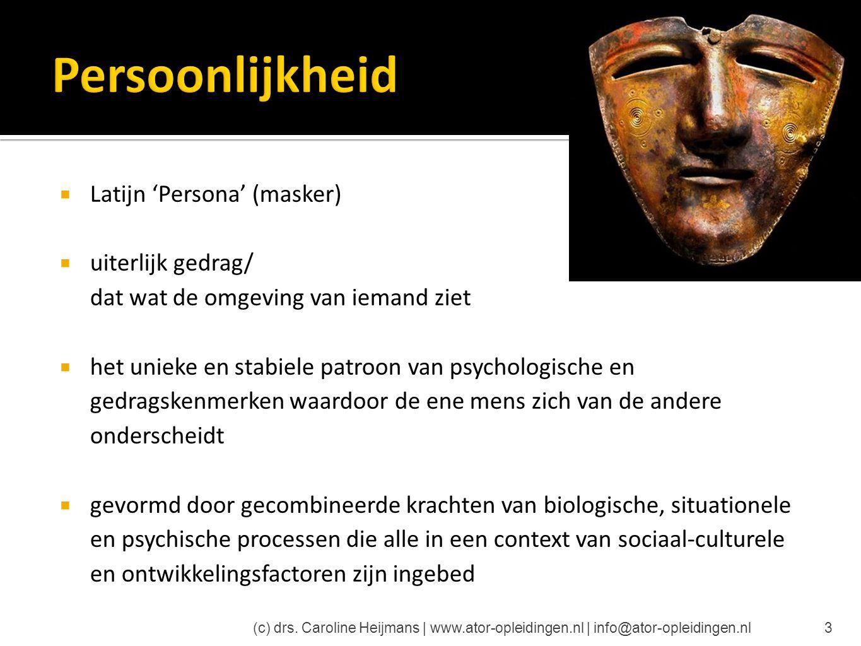 Persoonlijkheid Latijn 'Persona' (masker) uiterlijk gedrag/