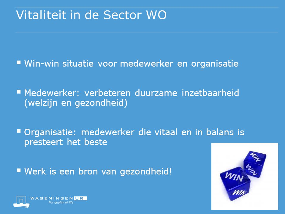 Vitaliteit in de Sector WO