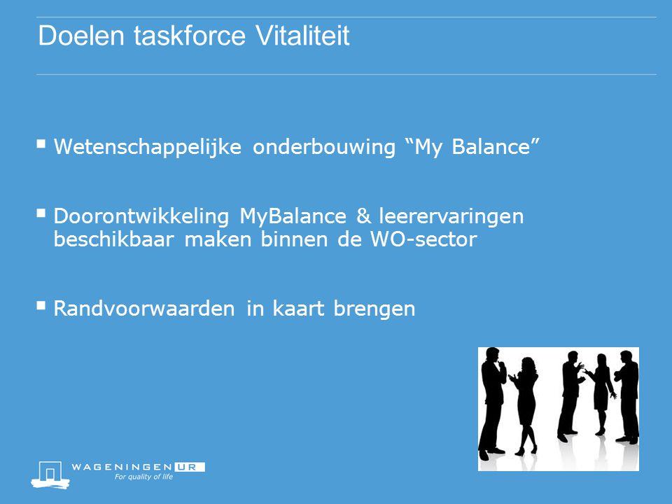 Doelen taskforce Vitaliteit