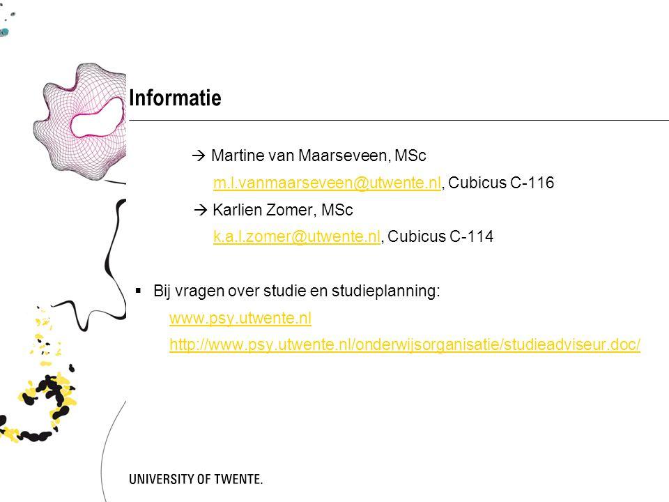 Informatie  Martine van Maarseveen, MSc