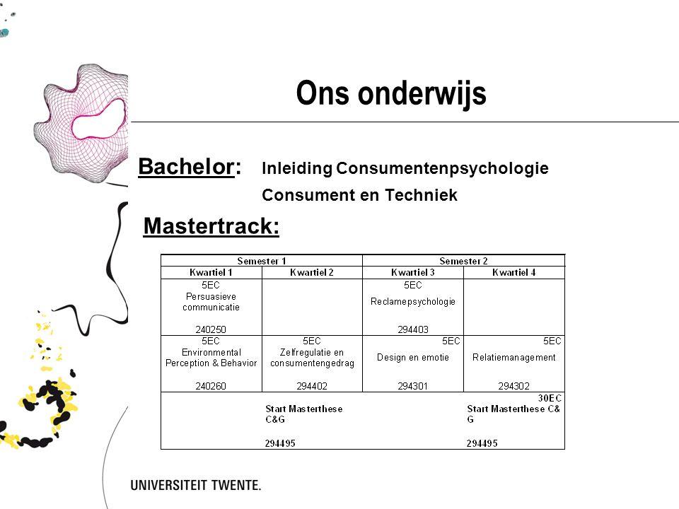 Ons onderwijs Bachelor: Inleiding Consumentenpsychologie Mastertrack: