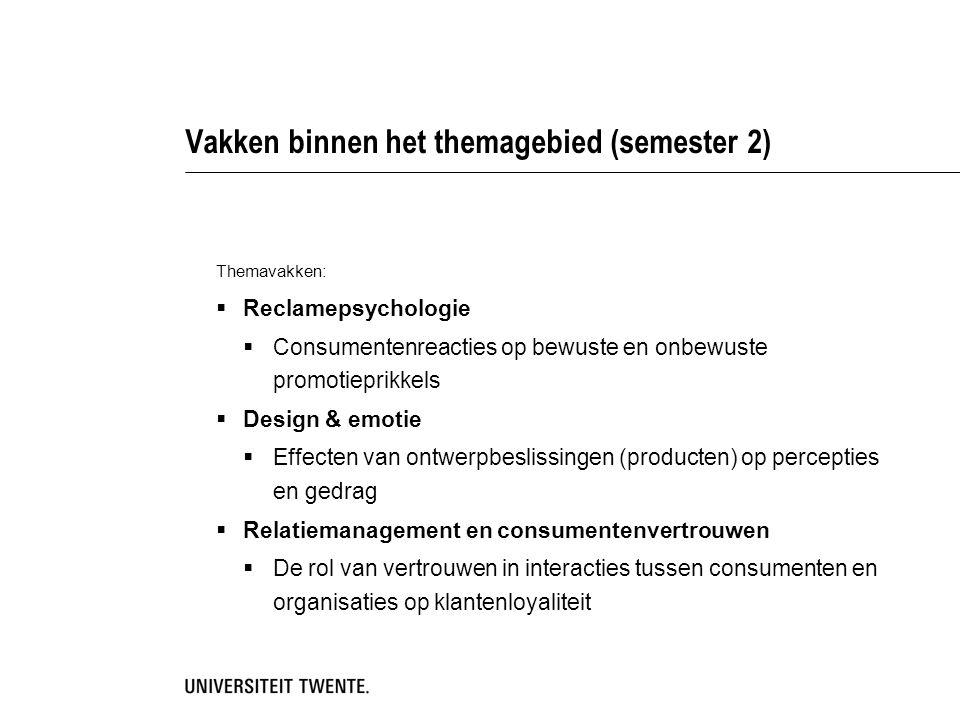 Vakken binnen het themagebied (semester 2)