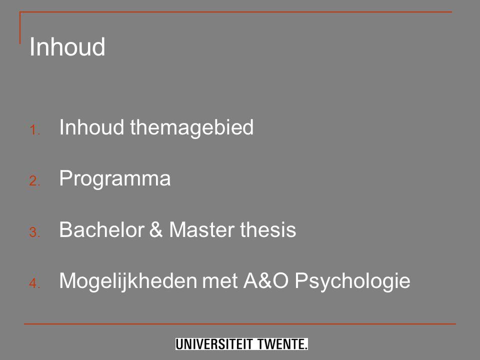 Inhoud Inhoud themagebied Programma Bachelor & Master thesis