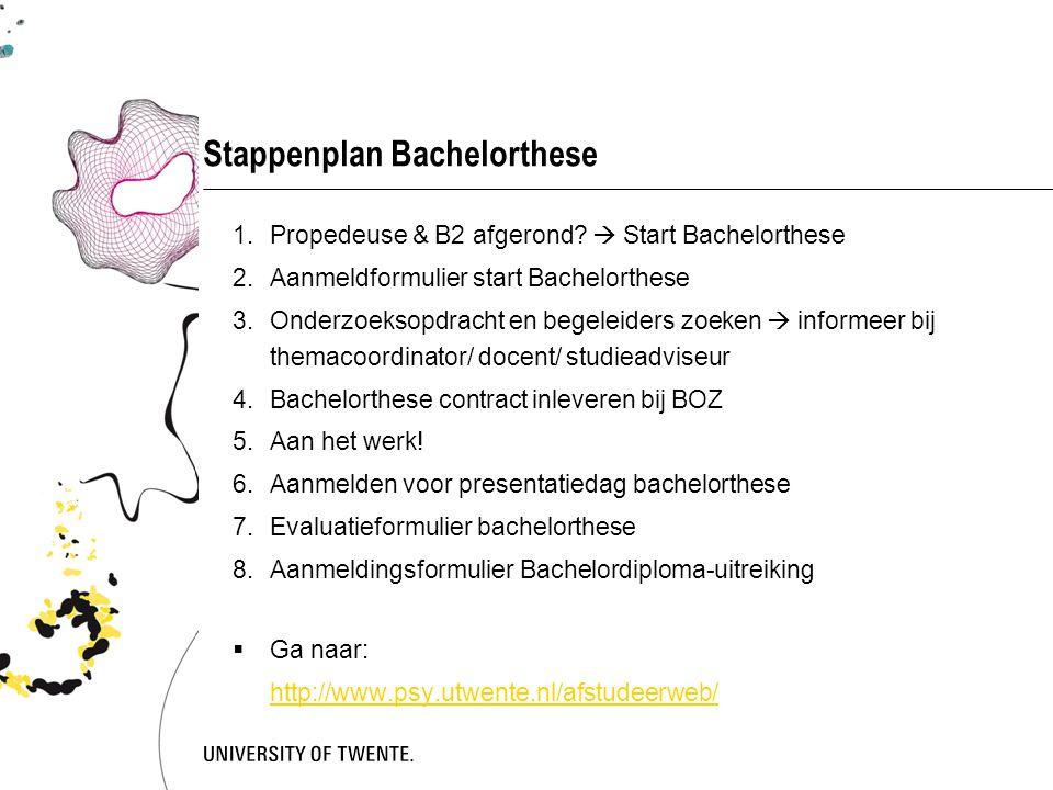 Stappenplan Bachelorthese