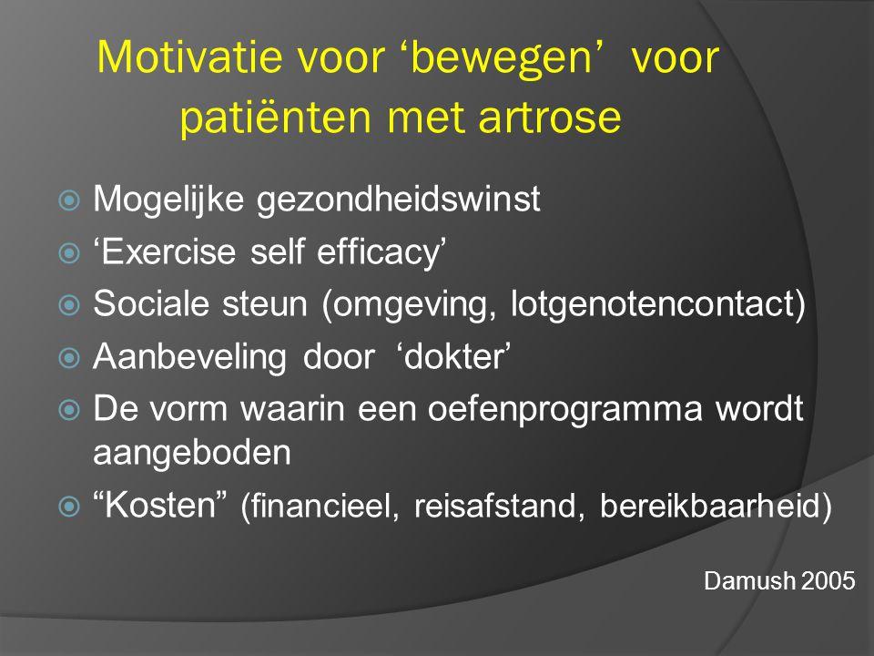 Motivatie voor 'bewegen' voor patiënten met artrose