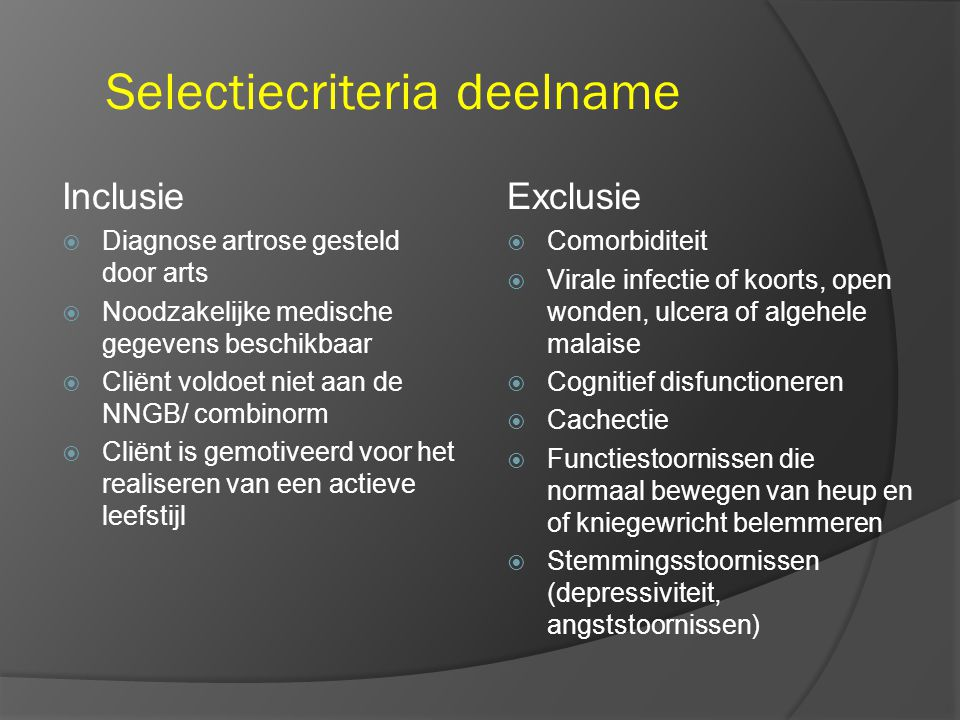 Selectiecriteria deelname