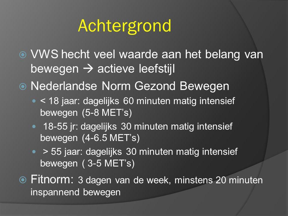 Achtergrond VWS hecht veel waarde aan het belang van bewegen  actieve leefstijl. Nederlandse Norm Gezond Bewegen.