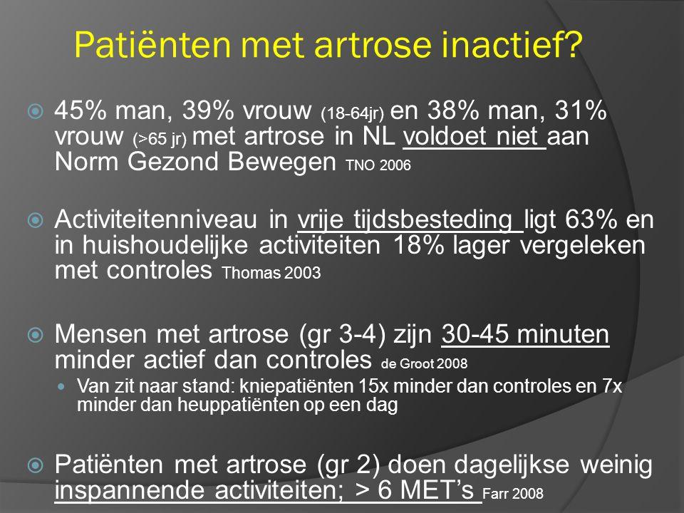 Patiënten met artrose inactief
