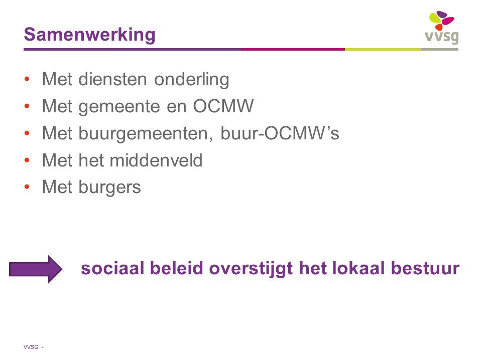 Samenwerking Met diensten onderling. Met gemeente en OCMW. Met buurgemeenten, buur-OCMW's. Met het middenveld.