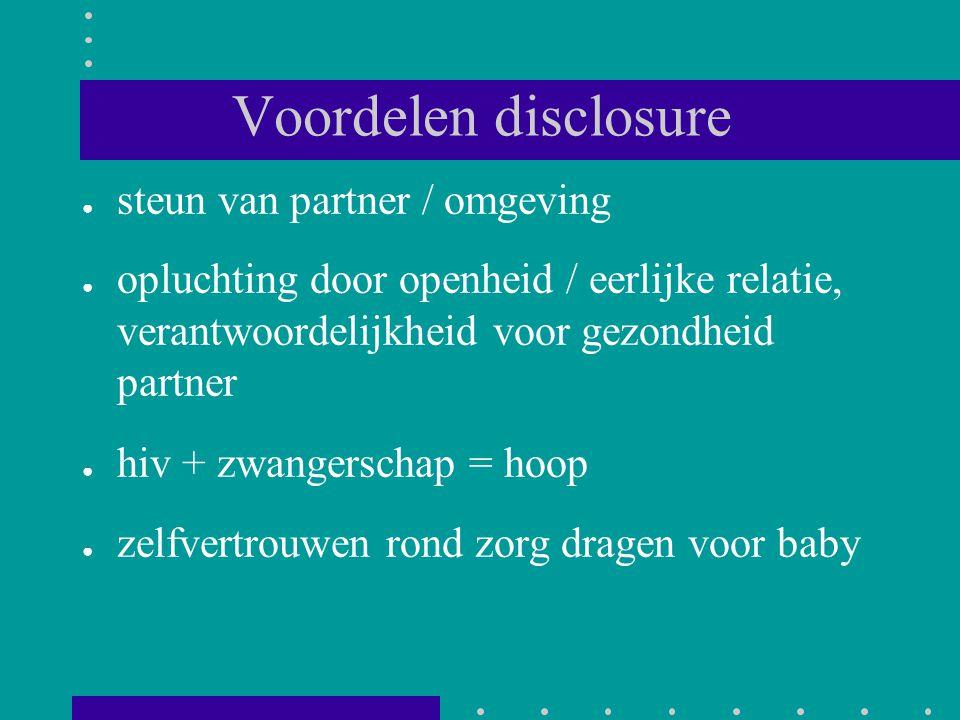 Voordelen disclosure steun van partner / omgeving