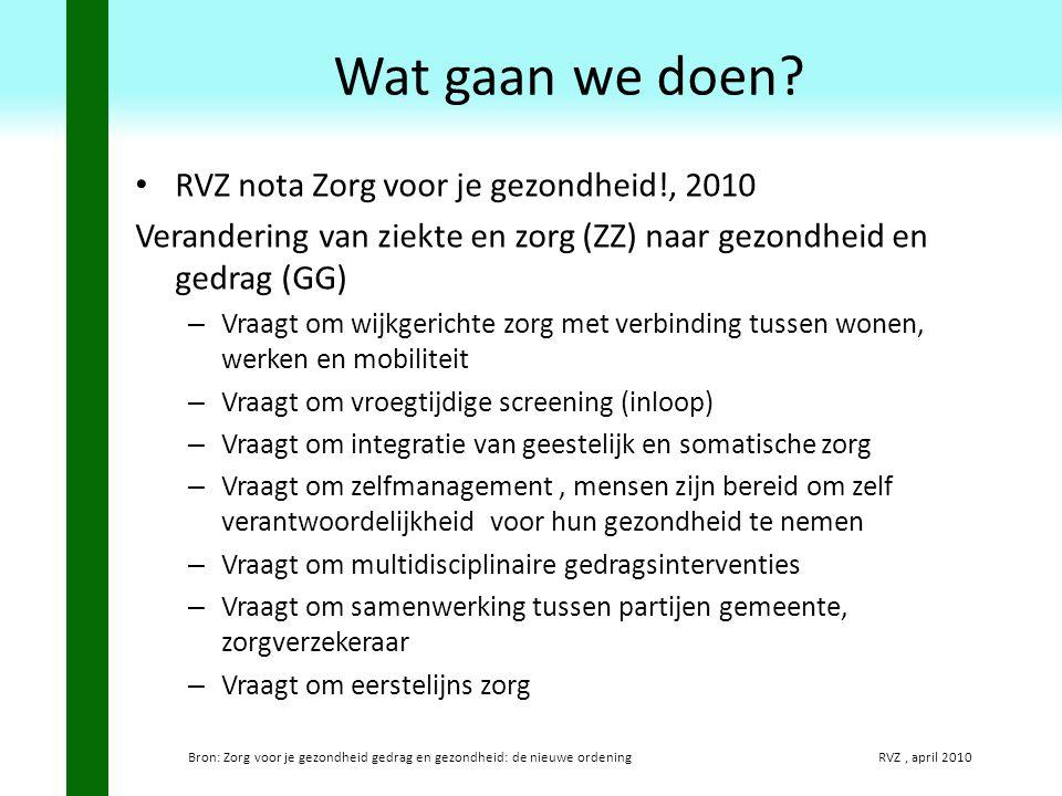 Wat gaan we doen RVZ nota Zorg voor je gezondheid!, 2010