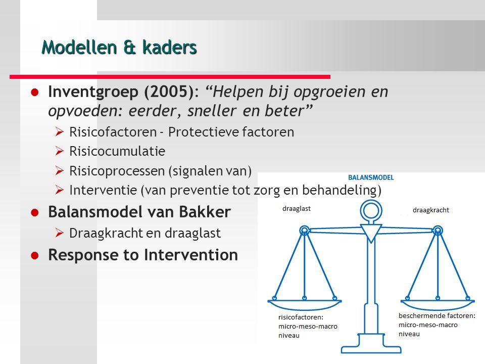 Modellen & kaders Inventgroep (2005): Helpen bij opgroeien en opvoeden: eerder, sneller en beter Risicofactoren - Protectieve factoren.
