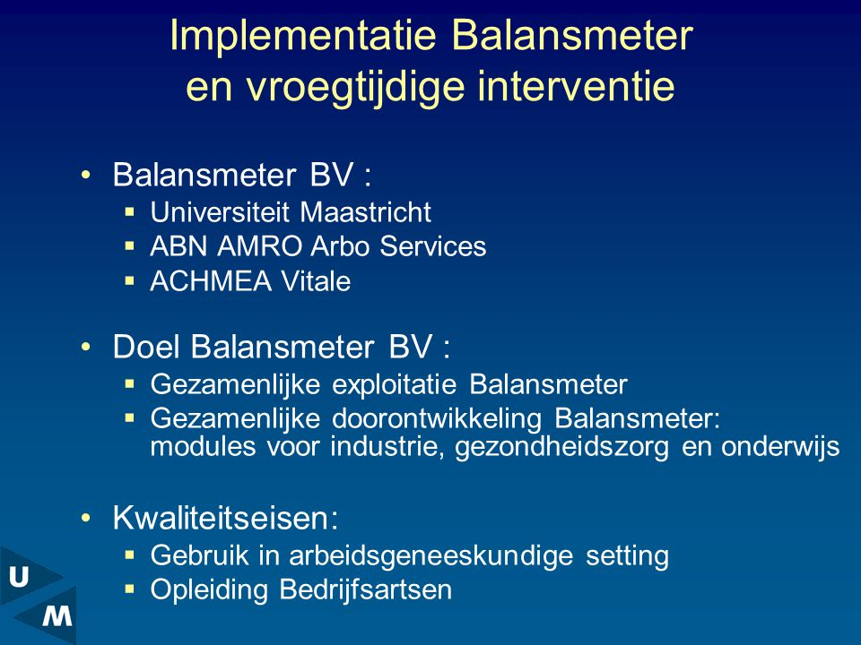 Implementatie Balansmeter en vroegtijdige interventie