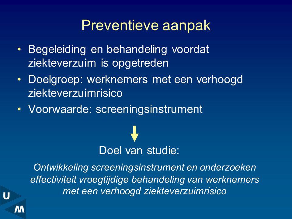Preventieve aanpak Begeleiding en behandeling voordat ziekteverzuim is opgetreden. Doelgroep: werknemers met een verhoogd ziekteverzuimrisico.