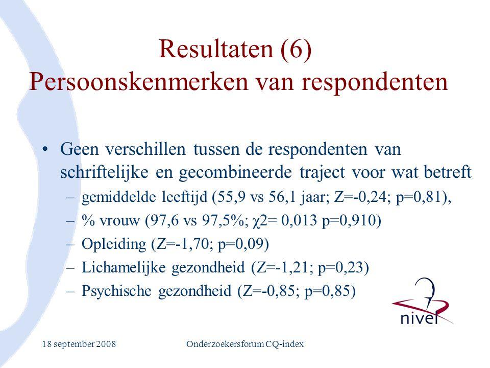 Resultaten (6) Persoonskenmerken van respondenten