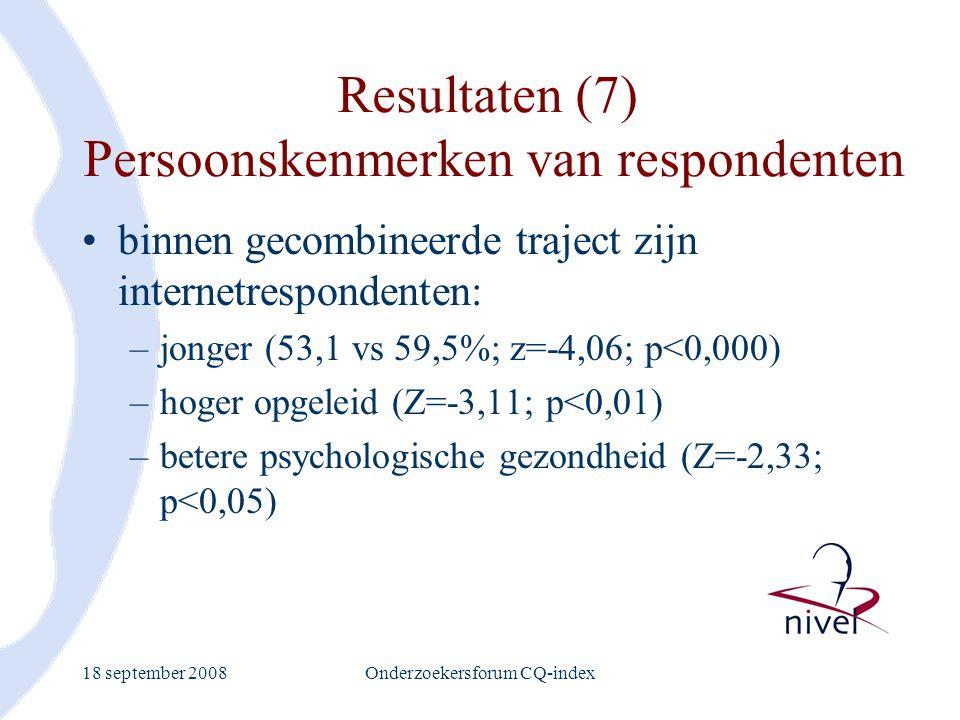 Resultaten (7) Persoonskenmerken van respondenten