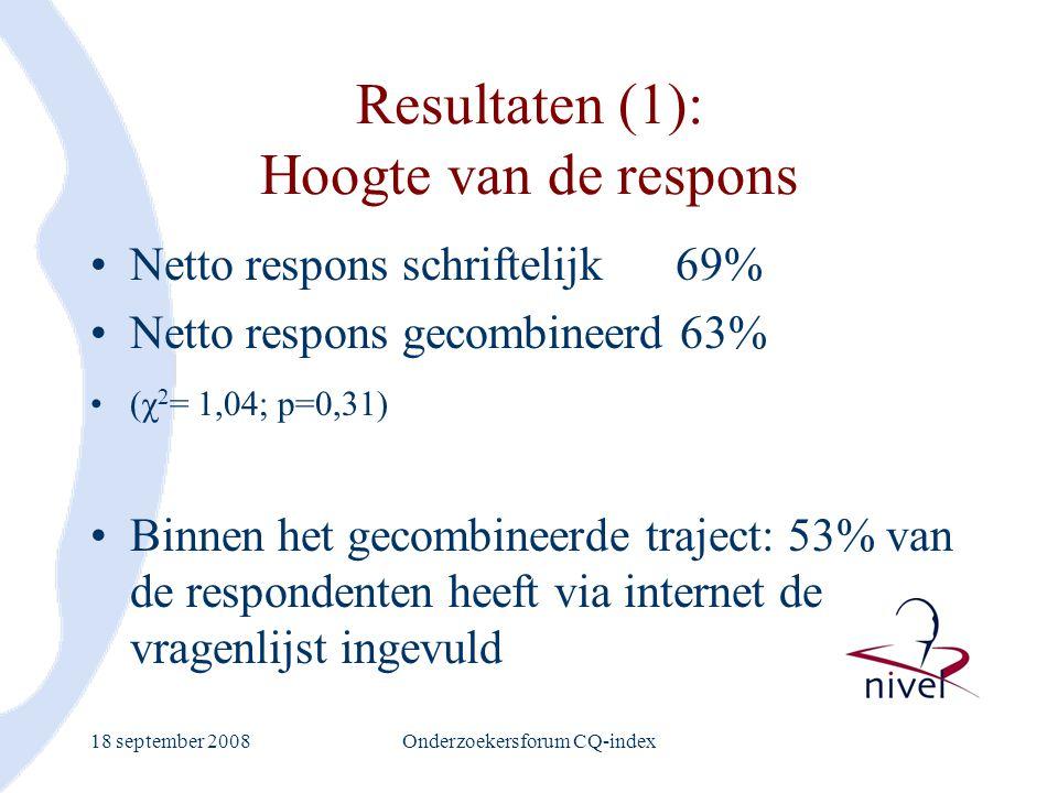 Resultaten (1): Hoogte van de respons