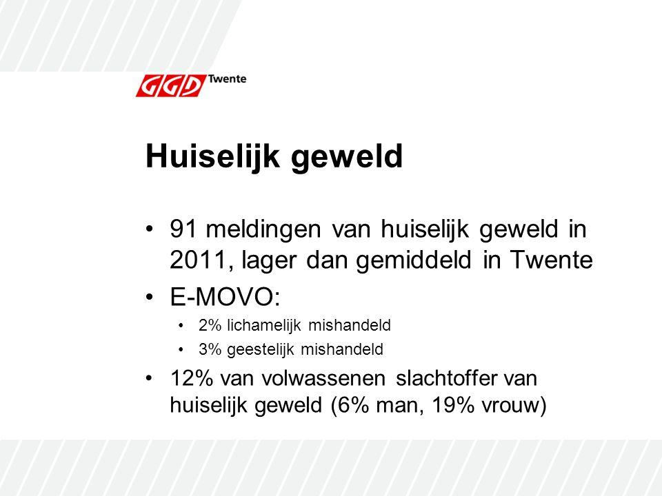 Huiselijk geweld 91 meldingen van huiselijk geweld in 2011, lager dan gemiddeld in Twente. E-MOVO: