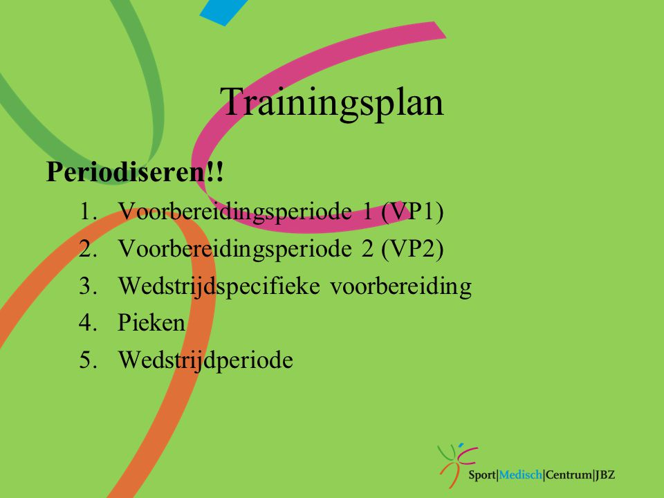 Trainingsplan Periodiseren!! Voorbereidingsperiode 1 (VP1)