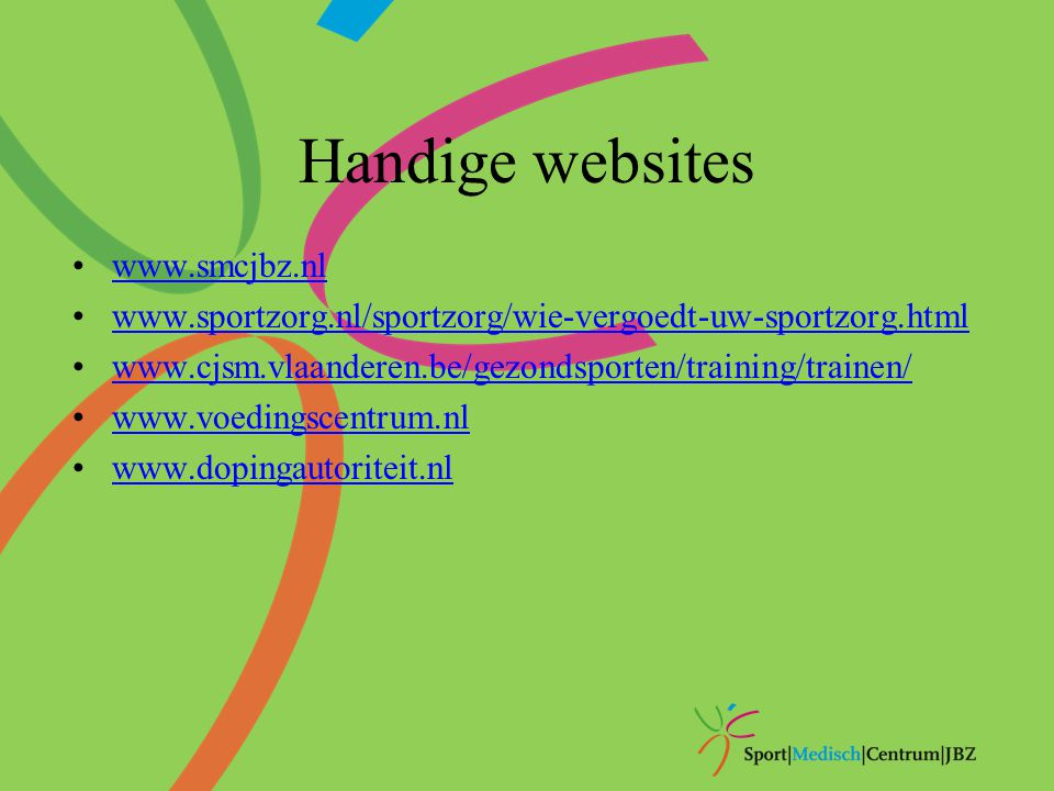 Handige websites www.smcjbz.nl