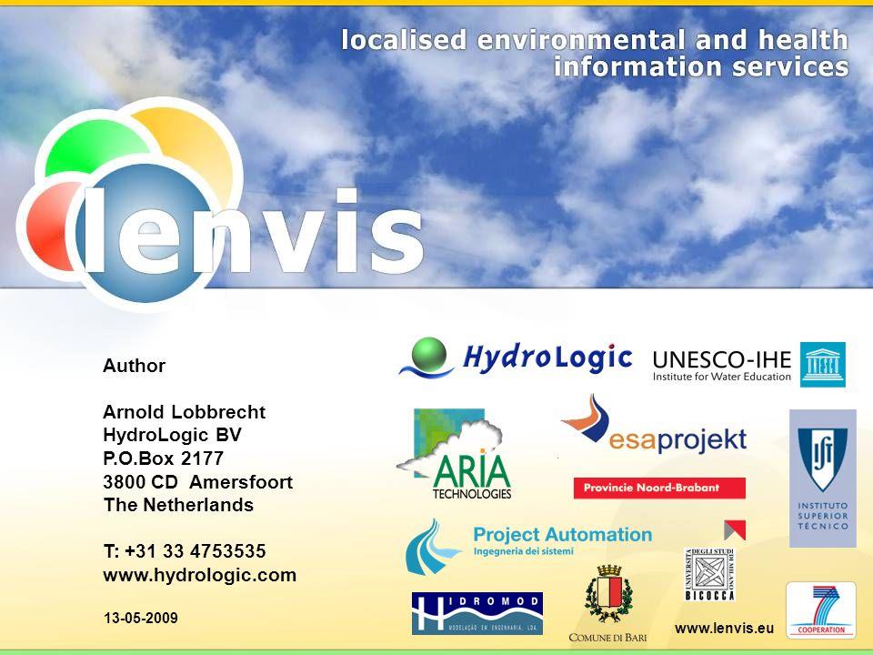 Author Arnold Lobbrecht HydroLogic BV P.O.Box 2177 3800 CD Amersfoort