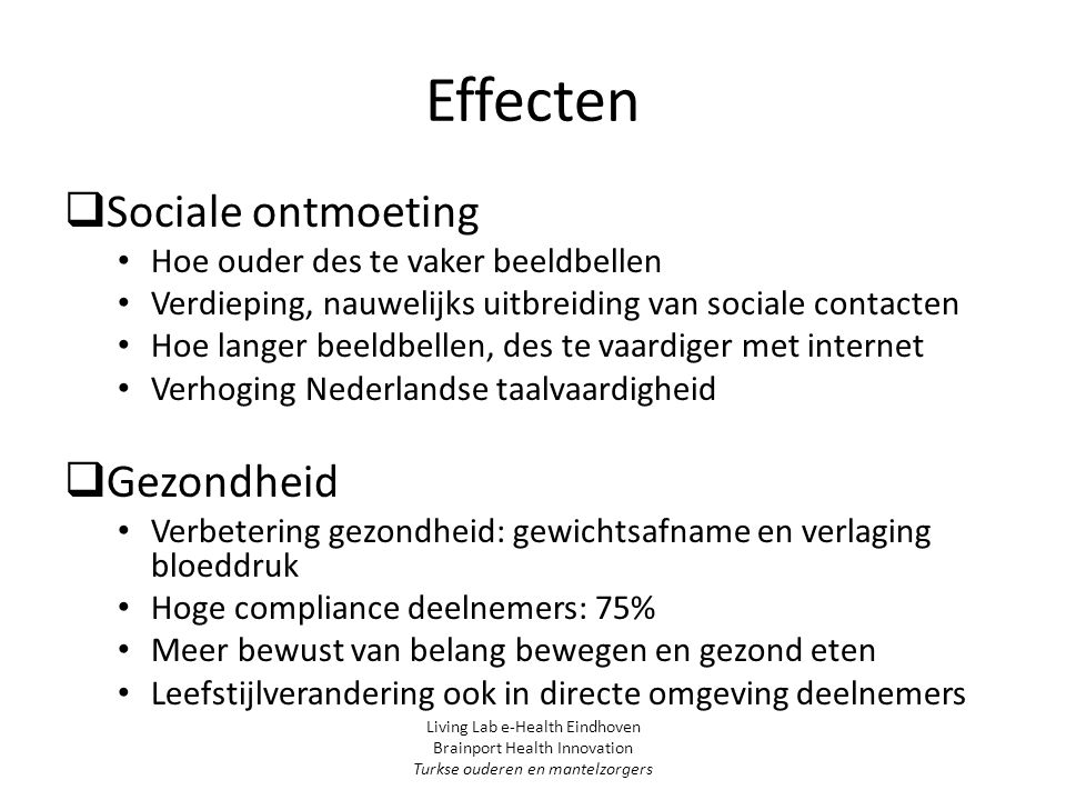 Effecten Sociale ontmoeting Gezondheid