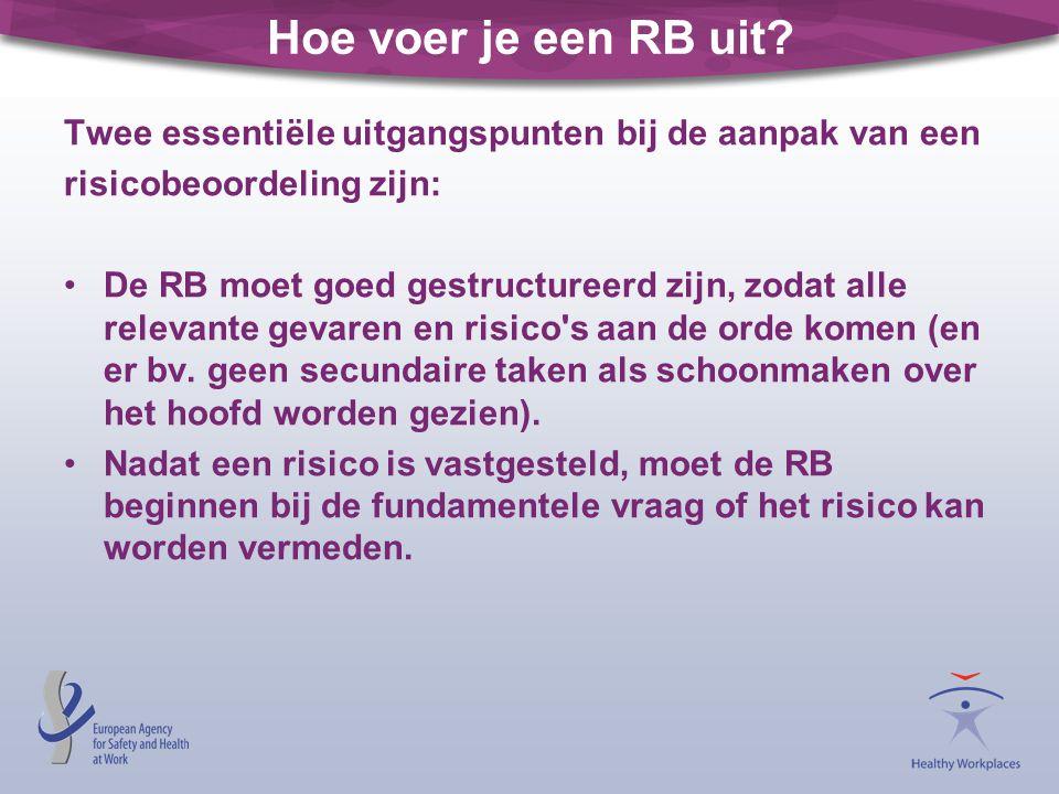 Hoe voer je een RB uit Twee essentiële uitgangspunten bij de aanpak van een. risicobeoordeling zijn: