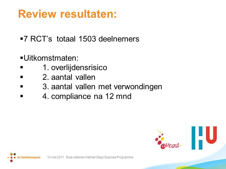 Review resultaten: 7 RCT's totaal 1503 deelnemers Uitkomstmaten: