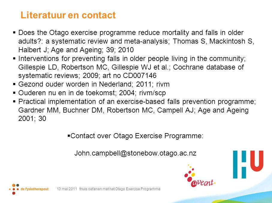 Contact over Otago Exercise Programme: