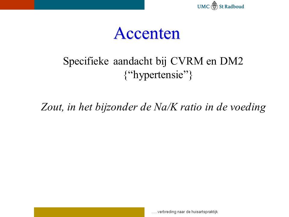 Accenten Specifieke aandacht bij CVRM en DM2 { hypertensie }