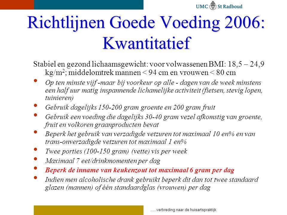 Richtlijnen Goede Voeding 2006: Kwantitatief