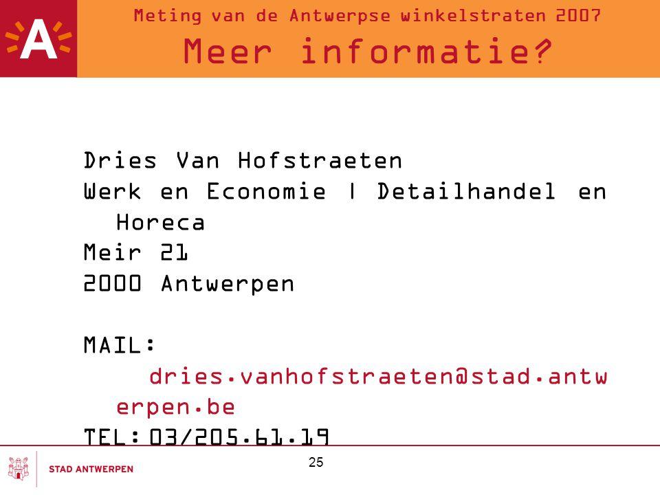 Meting van de Antwerpse winkelstraten 2007 Meer informatie