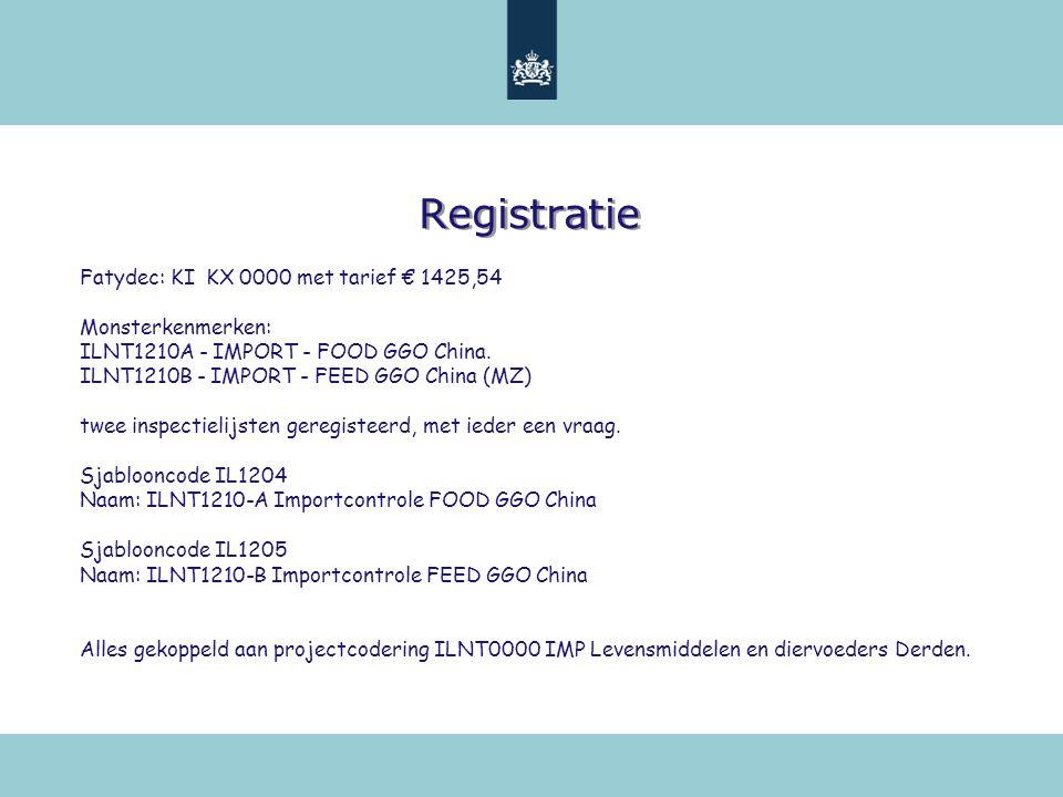 Registratie Fatydec: KI KX 0000 met tarief € 1425,54 Monsterkenmerken: