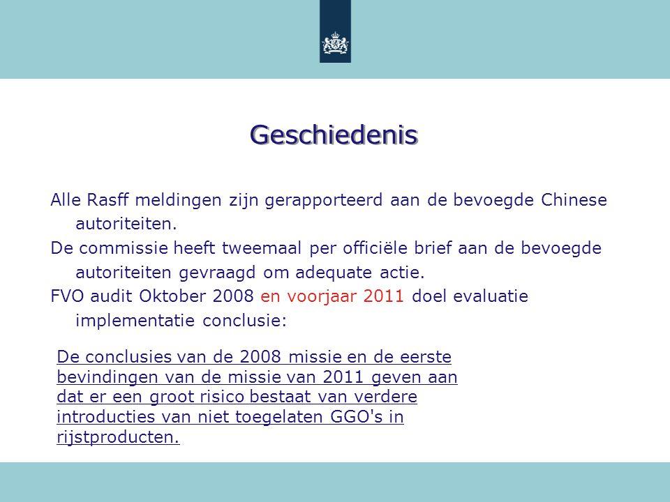 Geschiedenis Alle Rasff meldingen zijn gerapporteerd aan de bevoegde Chinese autoriteiten.