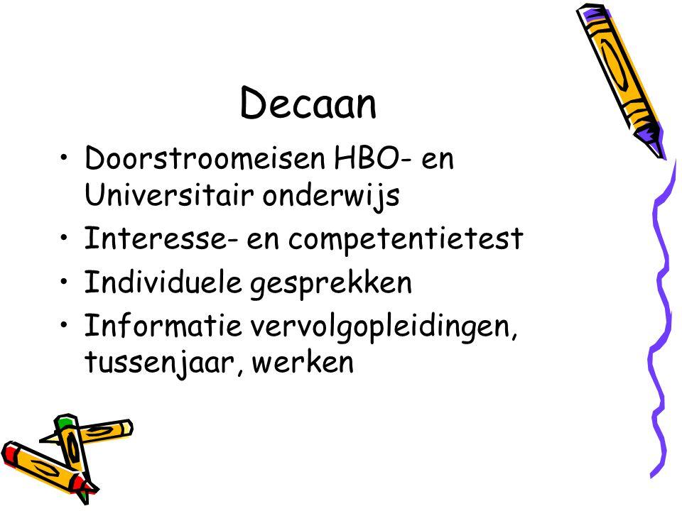 Decaan Doorstroomeisen HBO- en Universitair onderwijs