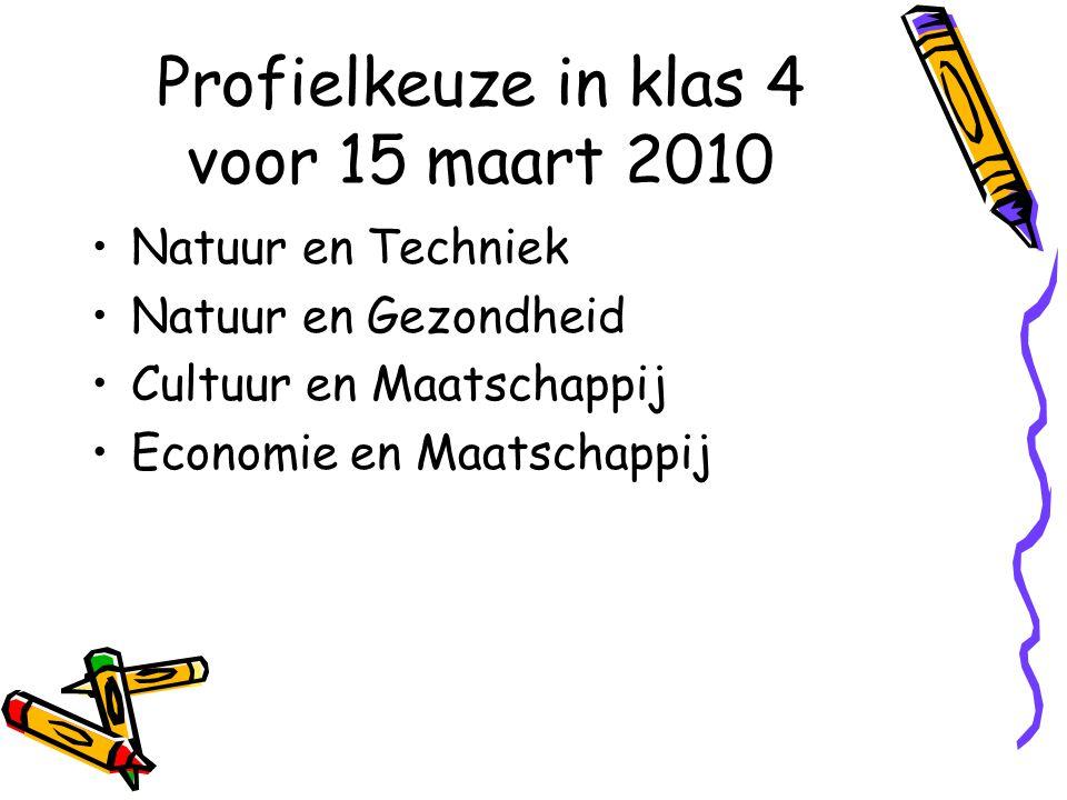 Profielkeuze in klas 4 voor 15 maart 2010