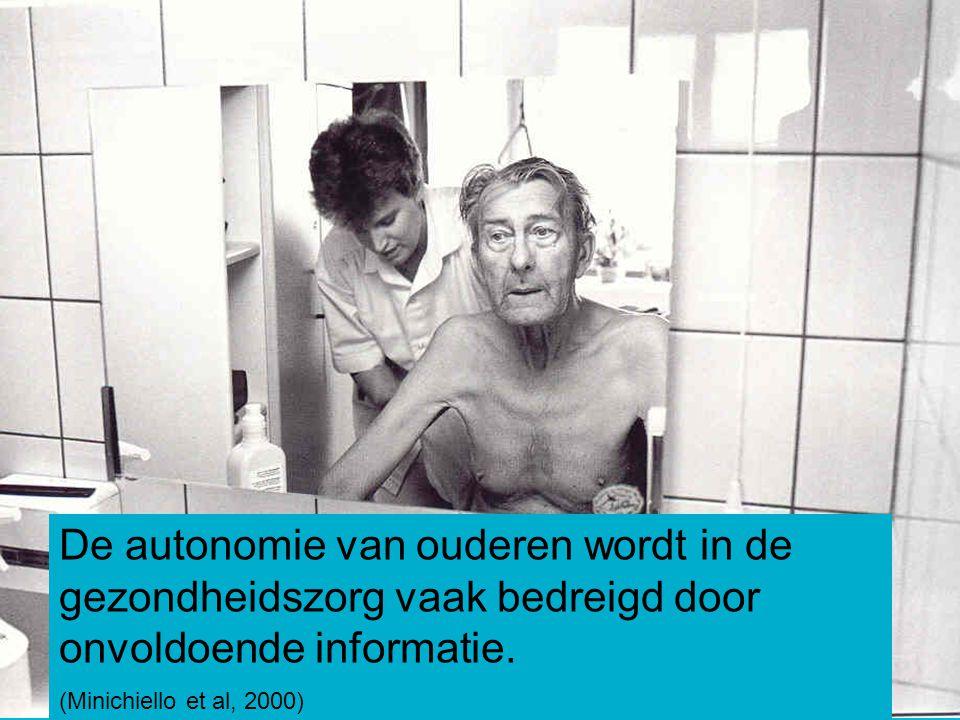 De autonomie van ouderen wordt in de gezondheidszorg vaak bedreigd door onvoldoende informatie.