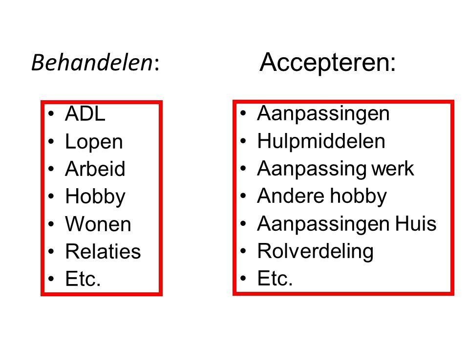 Behandelen: Accepteren: ADL Lopen Arbeid Hobby Wonen Relaties Etc.