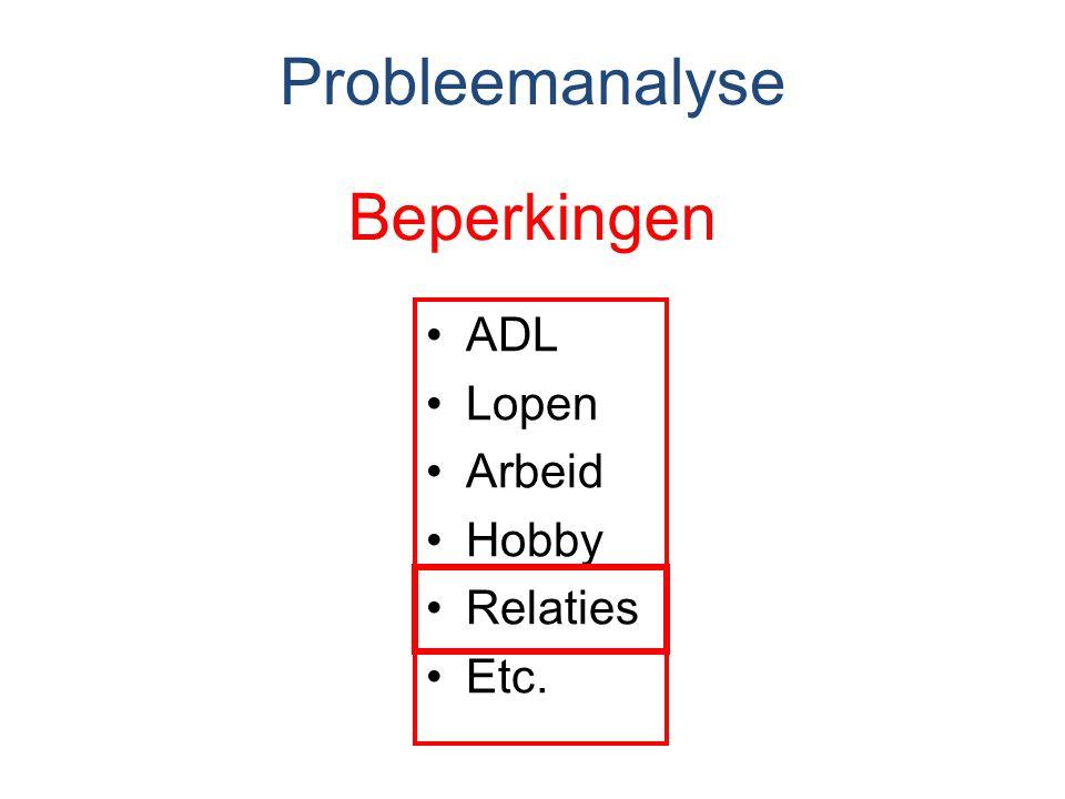 Probleemanalyse Beperkingen ADL Lopen Arbeid Hobby Relaties Etc.