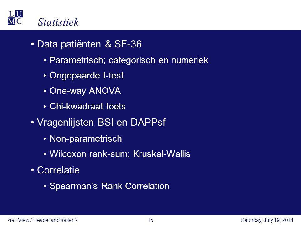 Statistiek Data patiënten & SF-36 Vragenlijsten BSI en DAPPsf